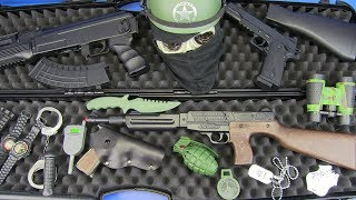 Toys Guns for Kids ! Box Of Toys with Realistic Police Military Toy Guns Equipment Black AK-47