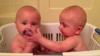 Cute TWIN Babies Share Pacifier   Funny Baby
