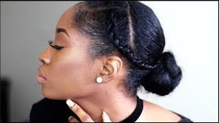 5 MINUTE BRAIDED BUN | QUICK & EASY NATURAL HAIRSTYLES