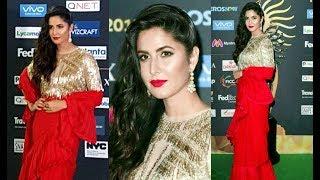 Katrina Kaif In Red Saree At IIFA Rocks 2017 Green Carpet