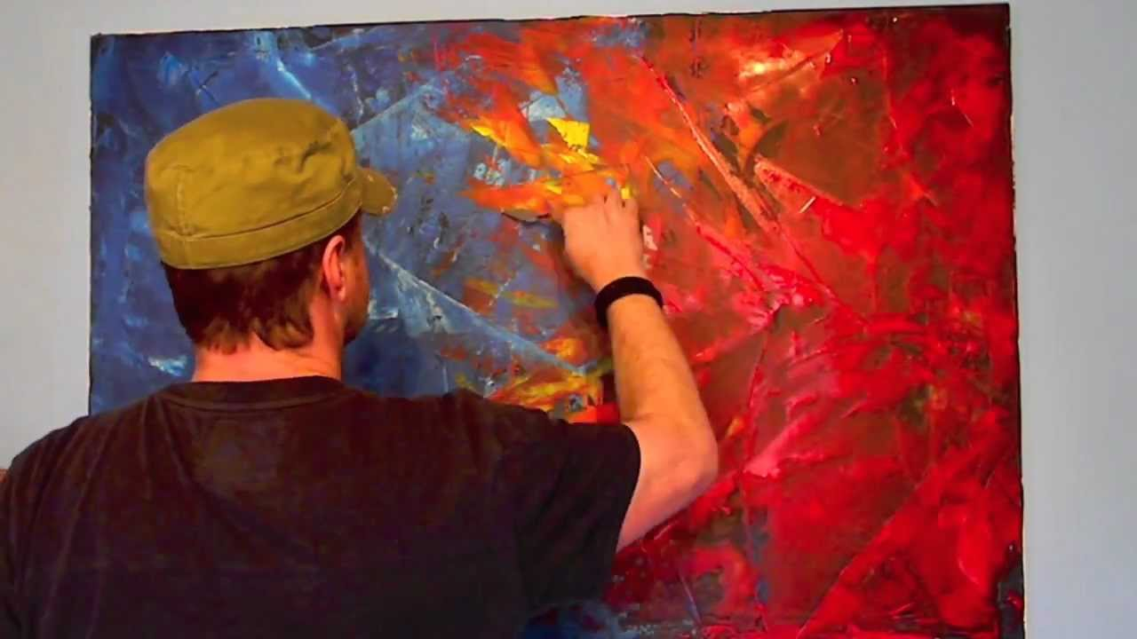 Acrylmalerei Spachteltechnik abstrakt  YouTube