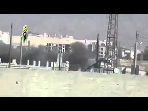 18+ Syria - Rebel Mortars Pound Dictator Assad Army at Nabek Checkpoint 11-23-13