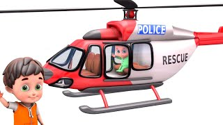 Police Chase Car - Rescue Helicopter | Tractor Cartoon, Fire Truck | Surprise Toys for Kids