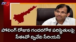 AP CEO Gopala Krishna Dwivedi Serious On Polling Day Incidents | TV5News
