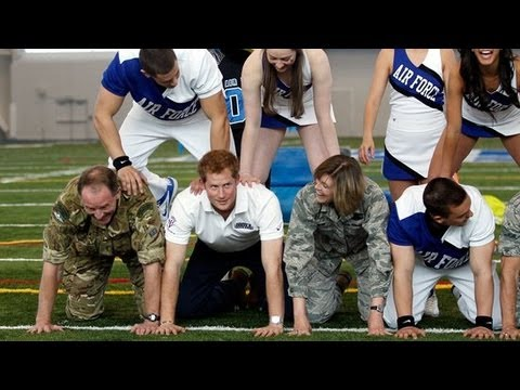 Prince Harry in a Human Pyramid in the United States | POPSUGAR News