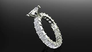 Marquise Cut Center with Princess Eternity Diamond Wedding Ring 14K White Gold