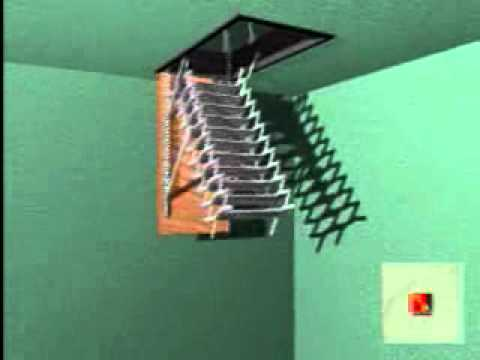 Escalera escamoteable de tijera zx youtube for Escaleras de madera tijera precios