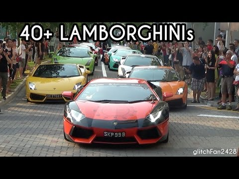 40+ Lamborghinis Draw a Crowd in Punggol New Town