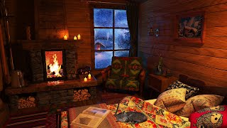 Deep Sleep in a Cozy Winter Hut and Cat | Blizzard sounds, Fireplace, Snowfall
