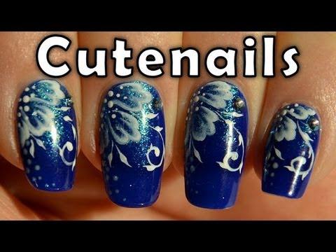Blue oak leaves one stroke nail art by cute nails