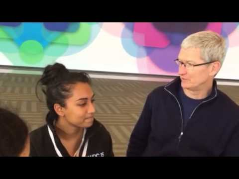Rithu's App demo to Tim Cook
