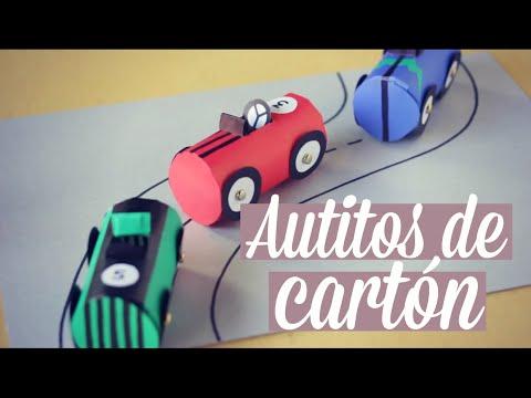 Autos para jugar hechos con tubos de cartón