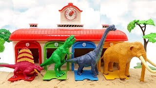 4 Dino Dinosaur Toys In Tayo Garage! Dinosaur Lego, Eggs, Transformer Eggs Dino Fun Video For Kids