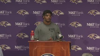 Ravens quarterback Lamar Jackson speaks to the media after losing to Titans