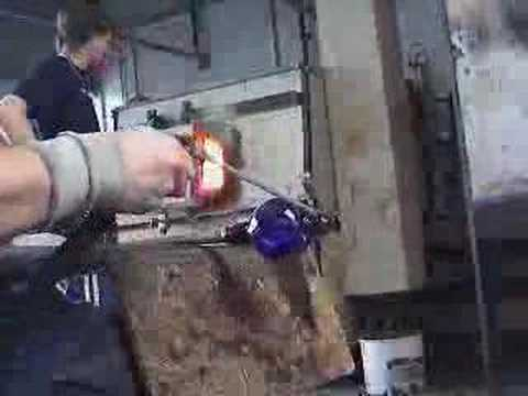 Glass Blowing - Red Wine Glass - Bristol Blue Glass Video