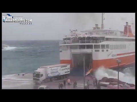 Greek Island Ferry Flawlessly Executes Heavy Seas Med Moor AGAIN!)