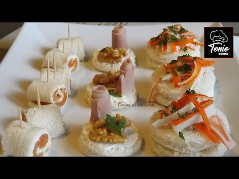 Canapés variados 3, fáciles y sabrosos - varied canapé, #225 - Cocina en video.com