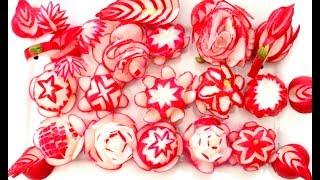 15 How To Make Red Radish Flower Garnish Design & Red Radish Rose   Swan   Duck