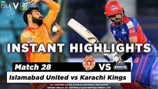 Islamabad United vs Karachi Kings | Full Match Highlights | Match 28 | 14 March | HBL PSL 2020