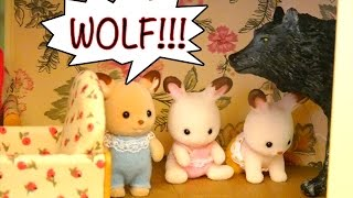 Story Time With Calico Critters Toys! The Wolf & 7 Kids Fairy Tale with Bunny Sylvanian Families