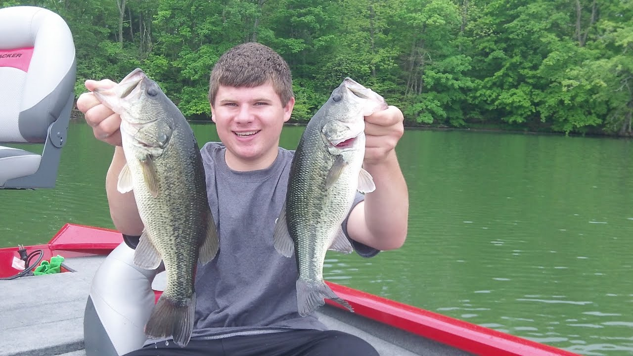 Spring bass fishing with swim jigs and wacky worms youtube for Spring bass fishing