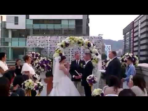 Simon and Maggie's outdoor ceremony - exchanging the vows