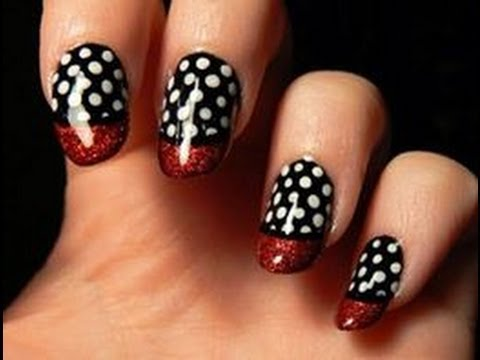 red black and white nail art diy easy for beginners