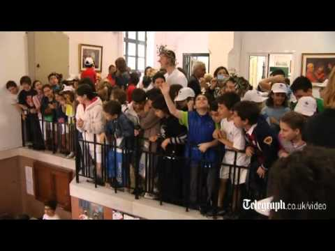 David Beckham visits Greek school