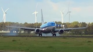 KLM B737 cosswind Landing one weel after the other @ AMS Schiphol PH-BHG