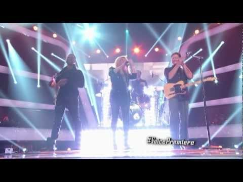 "The Voice-Shakira,Adam,Usher,blake shelton cantando ""Come Together"" juntos"