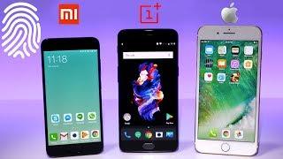 OnePlus 5 vs iPhone 7 Plus vs Xiaomi Mi6 - Fingerprint Scanner Comparison