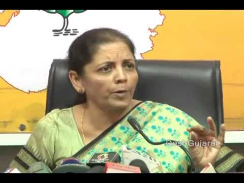 BJP's national spokesperson Nirmala Sitaraman addresses media in Ahmedabad, Gujarat