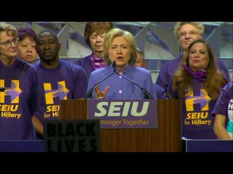 Clinton Warns SEIU of 'Trump Economics'