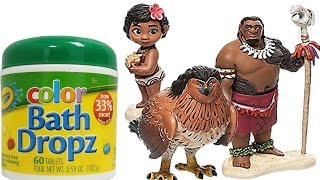 Disney Princess Moana, Chief Tui & Maui Play With Crayola Color Bath Dropz & Learn Numbers & Letters