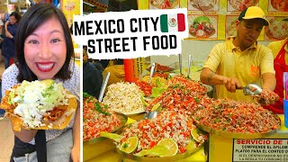 STREET FOOD in MEXICO | Mexico City street food tour | Best TOSTADAS + CORN FUNGUS quesadillas