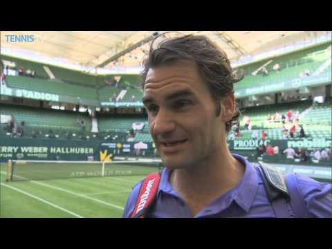 Federer Reflects on Tight 1st Round Win - Halle 2015