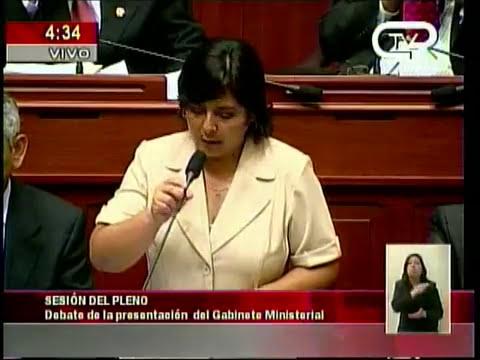 Ministra de la Mujer Ana Jara - Exposición en el Pleno del Congreso - Planes 2012