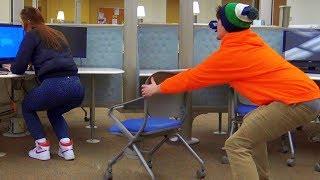 Chair Pulling Prank on Girls 3