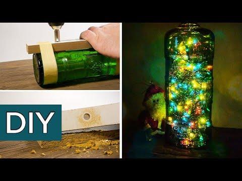 Новый год. Светильник из бутылки своими руками. #стройхак.