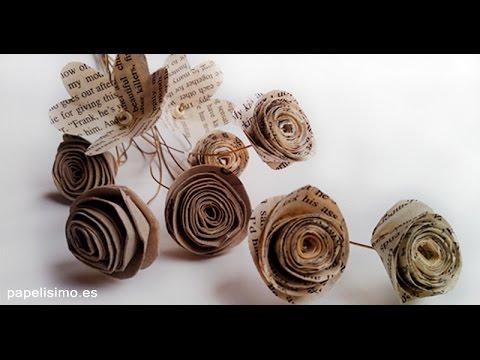 Tutorial flores de papel manualidades youtube - Papel partitura para manualidades ...