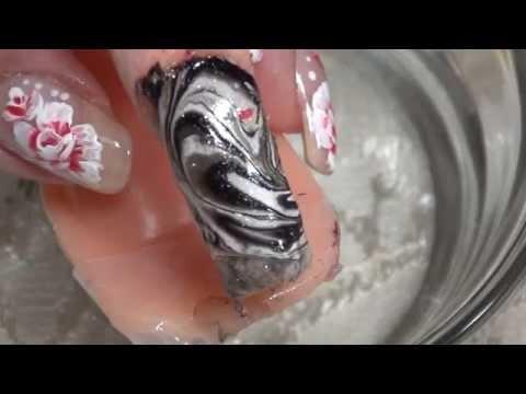 unhas marmolizadas #4negro,plata  Water Marble Nail Art Tutorial