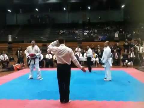 Glenn Hutchison VS Ashley Fleming GKR Karate World Cup 7 Men's Open Blackbelt Kumite.
