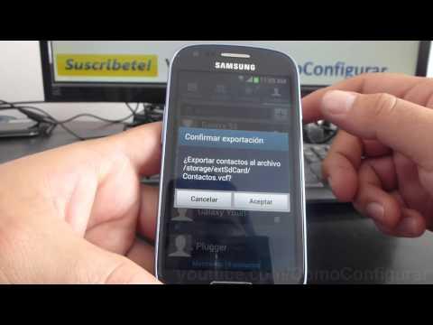 como Exportar contactos a la tarjeta de memoria SD samsung galaxy s3 mini i8190 español Full HD