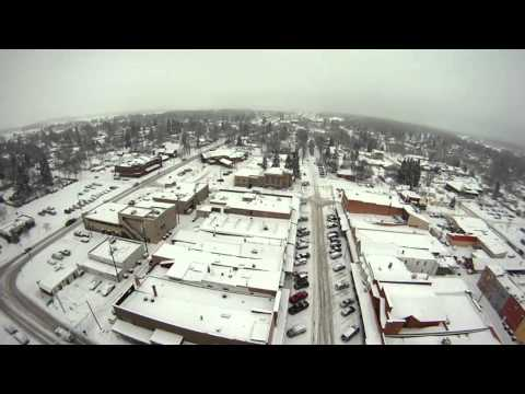 FPV Hexakopter flight over snowy Whitefish, Montana