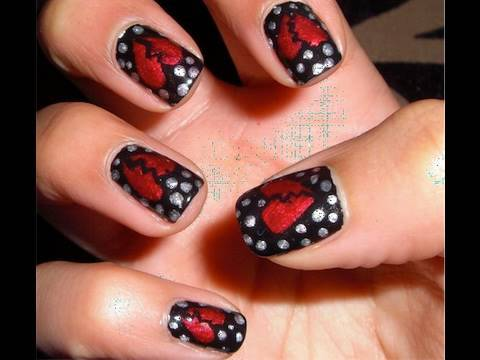 Breakup nails will wipe your tears away. broken heart. nail art. dots. nail design.