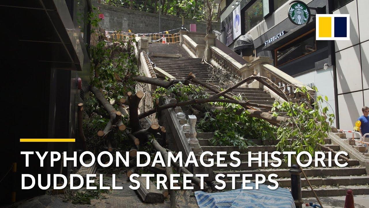 Typhoon Mangkhut damages historic Duddell Street Steps
