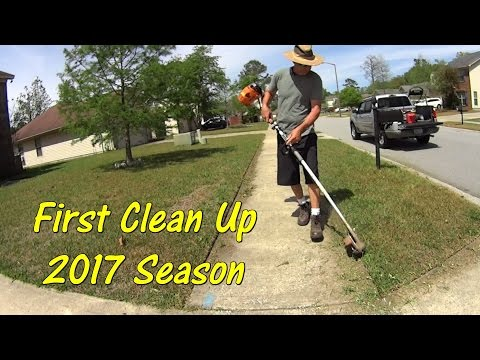 Cleaning Up a New Lawn Service Client with Basic Mowing Equipment