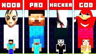 Minecraft Battle: SCARY PORTAL CHALLENGE - NOOB vs PRO vs HACKER vs GOD in Minecraft Animation