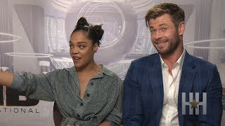 Tessa Thompson Teaches Chris Hemsworth The Basics Of Hair Extensions