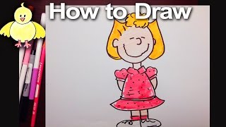 How to draw Sally Brown from the Peanuts!  Step by Step Easy Drawing Tutorial